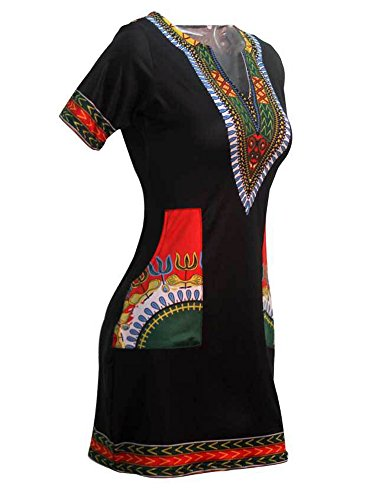 Bohemian Vintage Shift Ethnic Summer Neck V Red Style Printed Horse Dress Knight Women qwXEAaxB