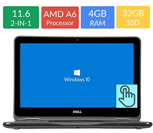 "Newest Business Dell Inspiron 2-in-1 Convertible 3000 11.6"" Touchscreen Laptop PC (7th Gen AMD A6-9220e Processor, 4GB DDR4 RAM, 32GB eMMc, WiFi, Bluetooth, Webcam, MaxxAudio, Windows 10)"