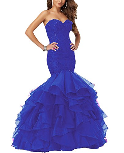 Eldecey Women's Mermaid Lace Applique Beaded Layered Ruffles Floor Length 2017 Pageant Prom Dress Royal Blue US10 - Train Length Strapless Royal
