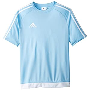 adidas Youth Soccer Estro Jersey, Clear Blue/White, X-Small