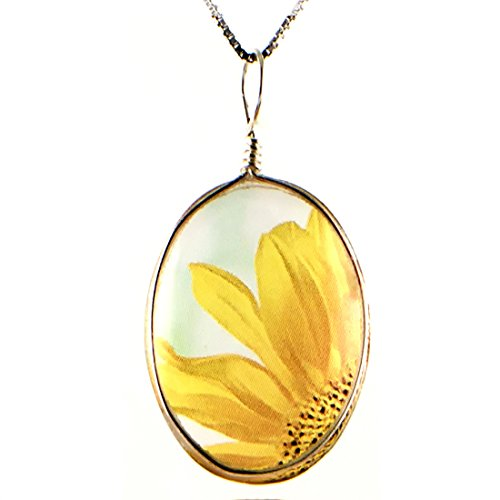 Handmade Glass Flower Necklace: Original Sunflower Image Fused to Artisan Made Pendant on Beautiful Silver Plated Snake Chain