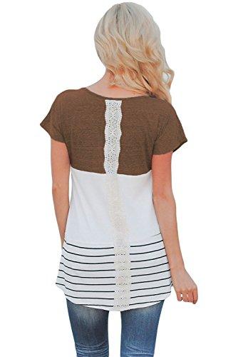 Nuovo colore marrone a strisce camicetta estate camicia top casual Wear taglia UK 10EU 38