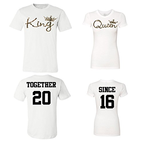King Queen Camouflage Customized Couple Shirts, Custom Year Together Since Newlywed Anniversary Wedding Matching T-Shirts ()