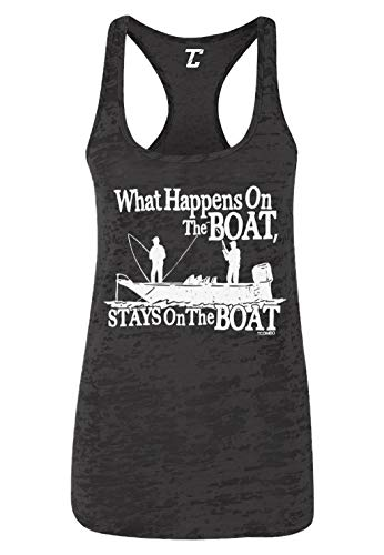 What Happens On The Boat, Stays On The Boat Women's Racerback Tank Top (Black, Medium)