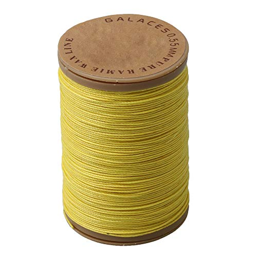 (Yibuy Ramie Waxed Sewing Wax Cord Bracelet Thread String Yellow 0.55mm Dia)
