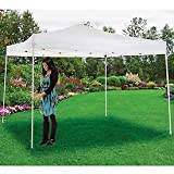 Portable Pop Up Canopy, Straight Leg, 10'L X 10'W X 10′ 1″H, White For Sale
