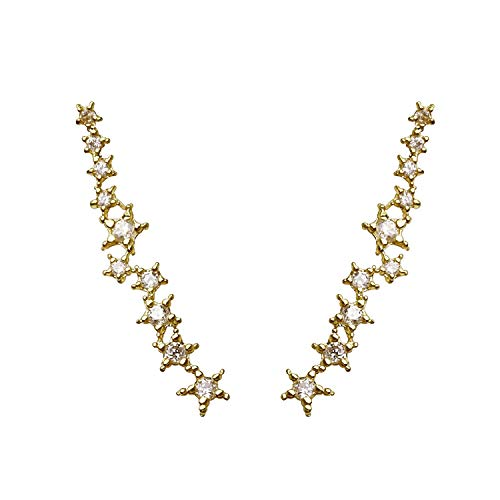 - Cubic Zirconia Crystal Star Cluster Studded Ear Crawler Earrings in Gold Silver Rose Gold (Gold) - ECSC