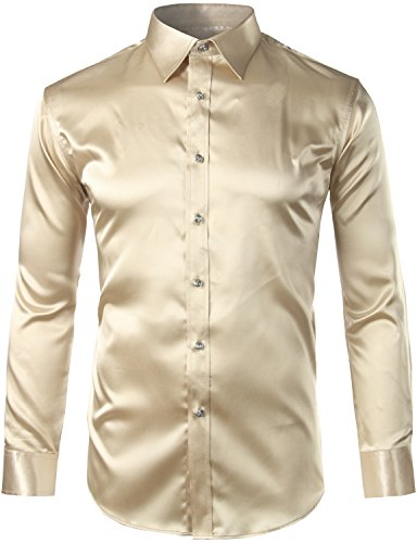 - ZEROYAA Mens Regular Fit Long Sleeve Shiny Satin Silk Like Dance Prom Dress Shirt Tops Z6 Champagne Large