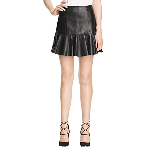 Rebecca Taylor Vegan Leather Flounce Skirt, Black, 4 (Rebecca Mini Taylor)