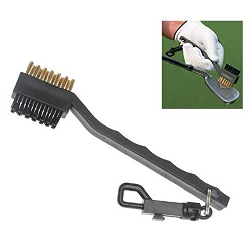 (Unmengii Black Useful Lightweight Golf Club Brush Groove Ball Cleaner 2 Sided Brass Wires Nylon Golf Brush with Clip Cleaning Kit Tool)