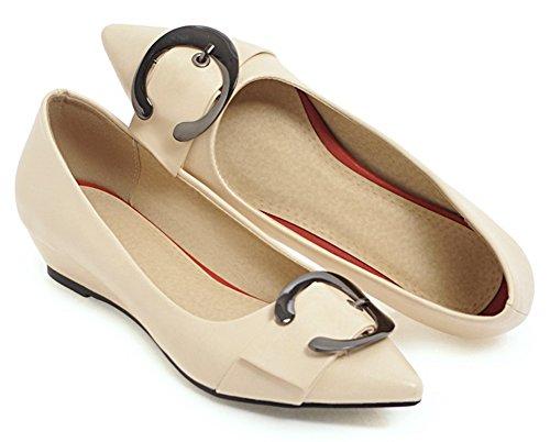Tacón De Aguja De Corte Bajo Con Cordones De La Comodidad De Las Mujeres De Aisun Con Punta Estrecha Zapatos De Cuña De Tacón Bajo Con Estilo De Los Zapatos Beige