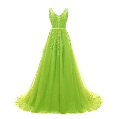 Prom Bridal Evening Backless Dresses Formal V Bess Green Lime Elegant Women's Lace Tulle Tnzqdq8