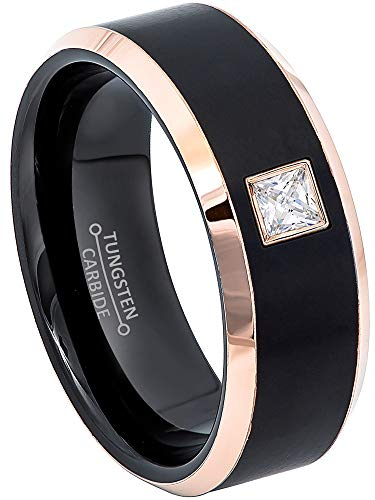 0.10ctw Solitaire Princess Cut Diamond Tungsten Ring - 8MM Brushed 2-Tone Rose Gold Tungsten Carbide Wedding Band - April Birthstone Ring - s12.5 ()