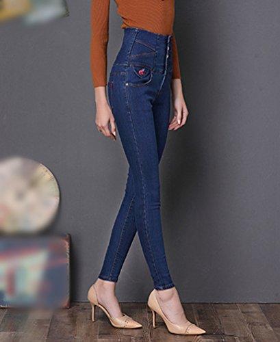 Leggings Pantaloni Sentao Jeans Scuro Skinny Matita Alta A Vita Denim Blu Donna Lunghi Vintage Slim 76x7WnHgw