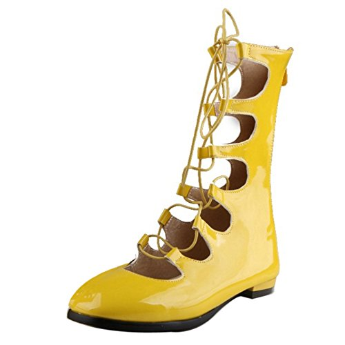 COOLCEPT Mujer Moda Cordones Bombas Zapato Cerrado Planos Verano Boots Hueco Zapatos With Cremallera Amarillo