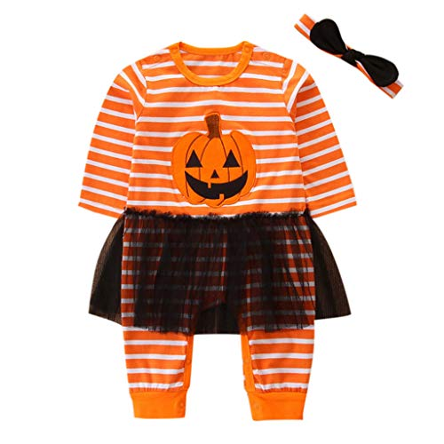 Little Girl Halloween Sets,Jchen(TM) New Style 2Pcs Toddler Baby Girls Pumpkin Striped Print Tulle Splice Romper Jumpsuit+Headbands Halloween Clothes Outfits for 3-24 Months (Age:9-12 Months, Orange)