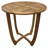 nice round wood patio table Great Deal Furniture Navarro | Round Wood Outdoor Accent Table | Perfect for Patio | with Teak Finish