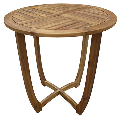 Christopher Knight Home Great Deal Furniture Navarro Round Wood Outdoor Accent Table Perfect for Patio with Teak Finish