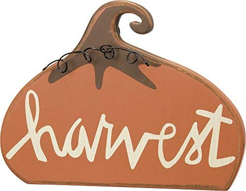 Standing Harvest Pumpkin Wood Sign Fall Decoration Home Decor for Thanksgiving]()