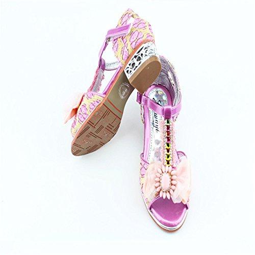 ZGSX sandalias de verano zapatos de la princesa arco sandalias niñas pequeñas cabeza de pescado sandalias de tacón alto Rosado