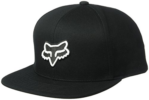 Fox Men's Flat Bill Snapback Hat, Black, OS