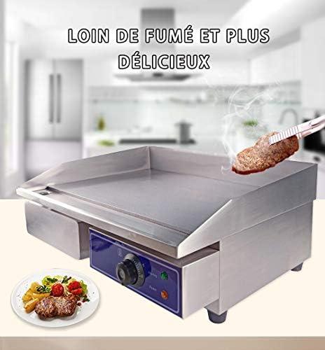 Taimiko Plancha électrique professionnelle inox 3000W 220-240V Plaque de gril en fer Lisse Anti-éclaboussures(18.5kg)
