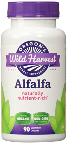 Oregon's Wild Harvest Alfalfa Organic Supplement, 90 Count vegetarian capsules, 1200mg organic alfalfa tops
