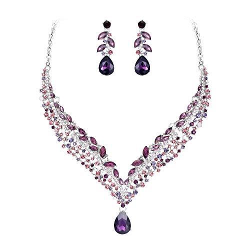 EVER FAITH Women's Austrian Crystal Decorative Leaf Teardrop Necklace Earrings Set Purple Silver-Tone (Color Fuchsia Rhinestone)