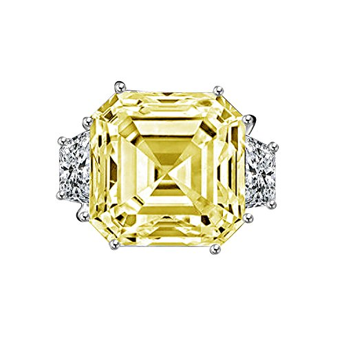 Diamond Veneer - 12Ct. Asscher Cut Center Set With Double Sided Baguettes Vintage Ring Simulated Diamond (Canary, 5)
