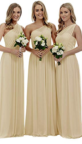 Staypretty Bridesmaid Dresses for Women Long One Shoulder Asymmetric Chiffon Prom Evening Gown Champagne 14