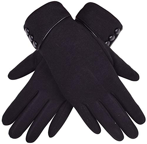 Stretch Windproof Gloves - WDSKY Women's Touch Screen Gloves Winter Windproof Black