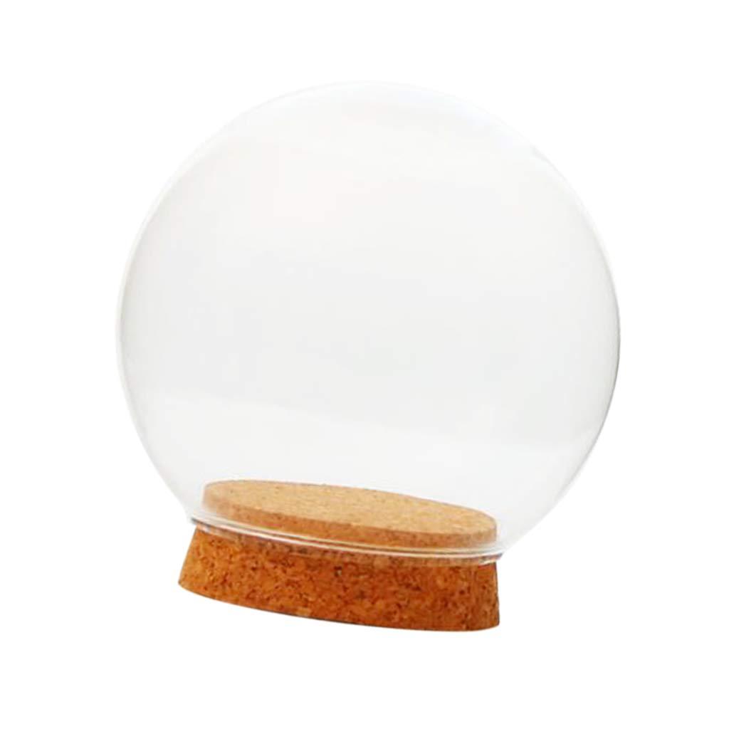 Cubierta con Forma De Bola De Cristal Botella De Terrario Suculenta Pantalla De Terrario Horizontal Campana De Vidrio con Corcho De Madera 12cm