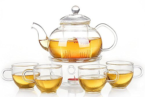 The Sunrise*Glass Filtering Tea Maker Teapot with a Warmer and 6 Tea Cups (25*15*11cm, red1) (4 cups) -
