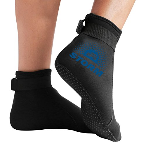 BPS 'Storm Smart Sock' Neoprene 3mm Water Socks - with Anti-Slip Sole - Wetsuit Booties for Scuba Diving, Swimming, Water Sports, Surfing - Low Cut (Black/Snorkel Blue Accent, L)