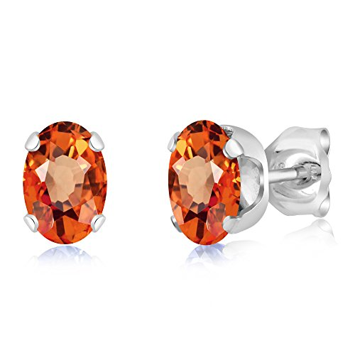 Gem Stone King 925 Sterling Silver Orange Sapphire Stud Earrings 1.10 Ctw Oval 6X4MM