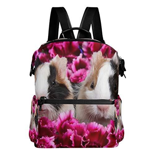 Backpack Pink Flowers Cuties Animal Guinea Pig Mens Laptop Backpacks Hiking Bag School Daypack ()