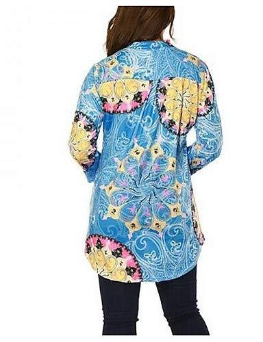 en Blue Coton Col Femme Couleur en Unie V Blouse YFLTZ Gomtrique 5qOwxFv
