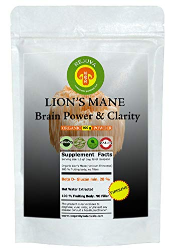 Organic LION'S MANE Mushroom Powder Extract & PIPERINE 100 Grams 100% USDA Fruiting Body. Small Batch, Produced Fresh. Potent. Feel the Difference! Brain Power Clarity. Superfood, Adaptogen, Nootropic For Sale