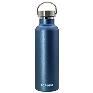 25 OZ Stainless Steel Vacuum Water Bottle Double Wall Insulated Thermos Leak Proof BPA free, Wide Mouth With Metal Lid-Blue