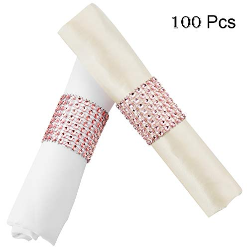 YumHome Napkin Rings Rhinestone Napkin Rings Adornment for Wedding Party (100 PCS, Rose Gold) (Ring Wedding Napkin Ring)