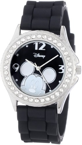Disney Women's MK1094 Rhinestone-Accented Mickey Mouse Watch with Black Rubber Band (Disney Clearance)