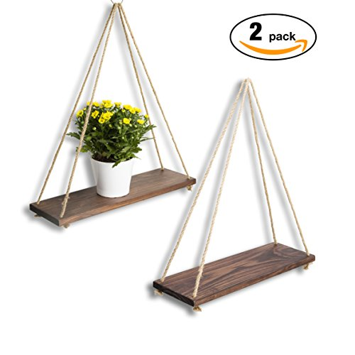 Bedroom Set Swing - ASLINY [Set of 2] Distressed Wood Hanging Swing Rope Floating Shelves by, Brown