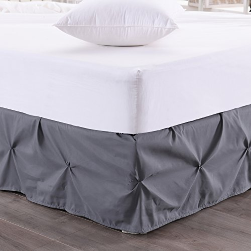 Dust Collection Ruffle - Sweet Home Collection Dust Ruffle Pinch Pleat Bed Skirt Pintuck, Queen, Gray