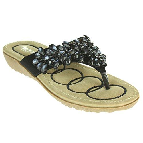Mujer Señoras Rebordeado Suela blanda Ponerse Verano playa Casual Fiesta Punta abierta Comodidad Plano Sandalias Zapatos Tamaño Negro