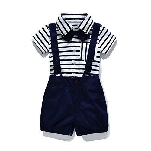 FERENYI Baby Boy's Bowtie Gentleman Romper Jumpsuit Overalls Stripe Rompers Sets (0-6 months, Navy blue)