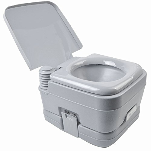 Picotech Portable Toilet High Density PP/ABS/PE Gray Outdoor 2.8 Gallon Waste Holding Durable Heavy Duty No Power Water Source Required Clamps Latch No Splash Spout Easy Transport Camp Boat - 2.8 Tank Gallon Holding