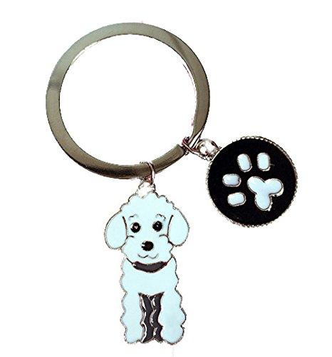 (White Enamel Poodle Enamel Dog Paw Charm Key Chain for The Poodle Dog Mom:)