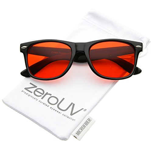 zeroUV - Retro Wide Temple Color Tinted Square Lens Horn Rimmed Sunglasses 54mm (Black / - Tinted Lenses
