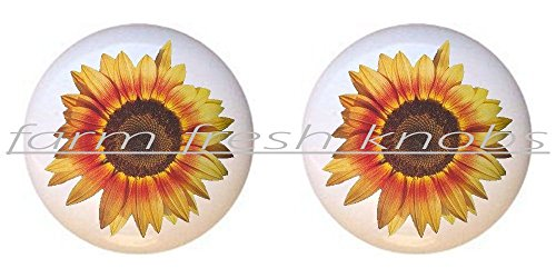 (SET OF 2 KNOBS - Sunflower #009 - Flowers Plants Flower Bouquet Floral - DECORATIVE Glossy CERAMIC Cupboard Cabinet PULLS Dresser Drawer KNOBS)