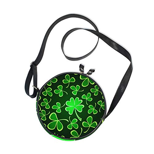 AHOMY St. Patrick's Day Shamrock Clover Circle Bag Round Crossbody Purse for Women ()